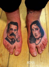 Colorful portraits of men and women tattoo on feet by Eckel